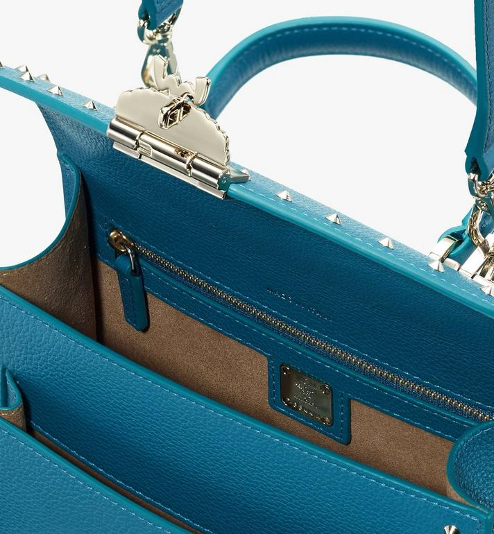 MCM Patricia Satchel in Studded Park Ave Leather Blue MWE8APA51JF001 Alternate View 4