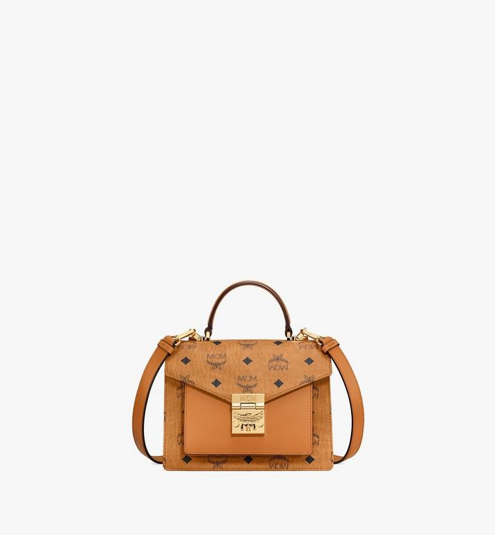 MCM Patricia Satchel in Visetos Cognac MWE8APA69CO001 Alternate View 1