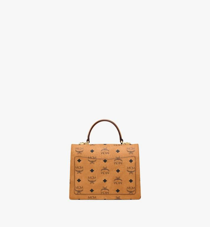 MCM Patricia Satchel in Visetos Cognac MWE8APA69CO001 Alternate View 4