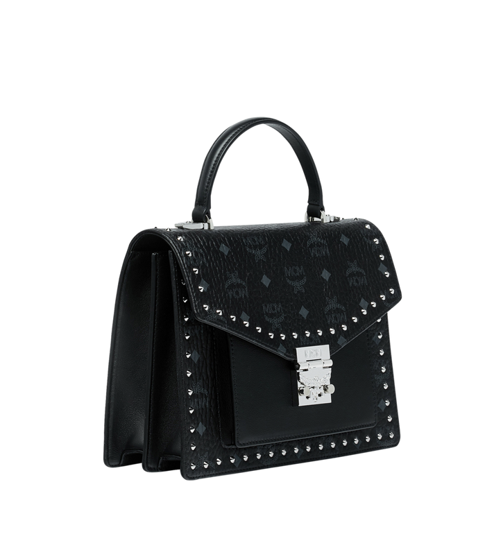 MCM Patricia Satchel in Studded Outline Visetos Black MWE9SPA43BK001 Alternate View 2
