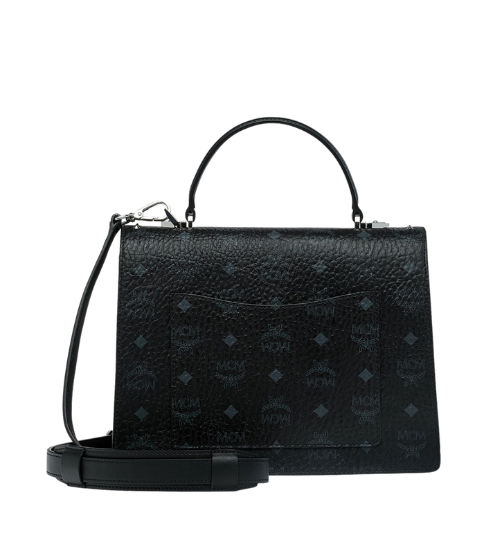 MCM Patricia Satchel in Studded Outline Visetos Black MWE9SPA43BK001 Alternate View 4