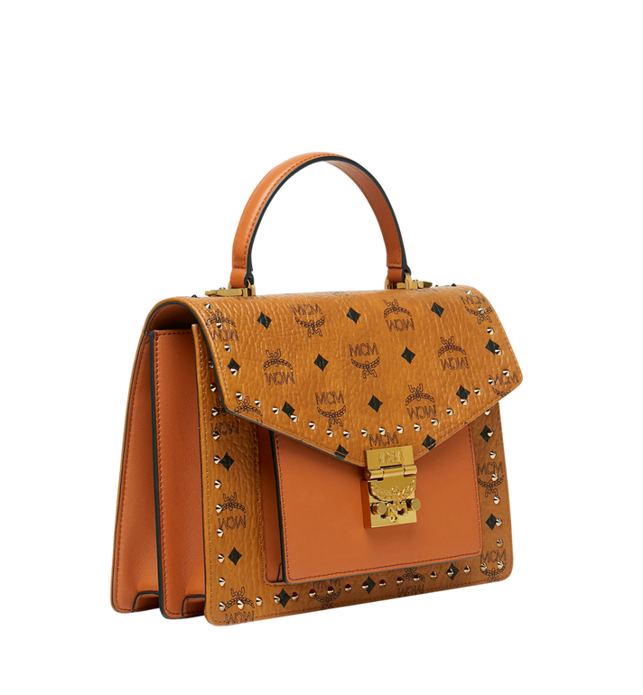 MCM Patricia Satchel in Studded Outline Visetos Cognac MWE9SPA43CO001 Alternate View 2