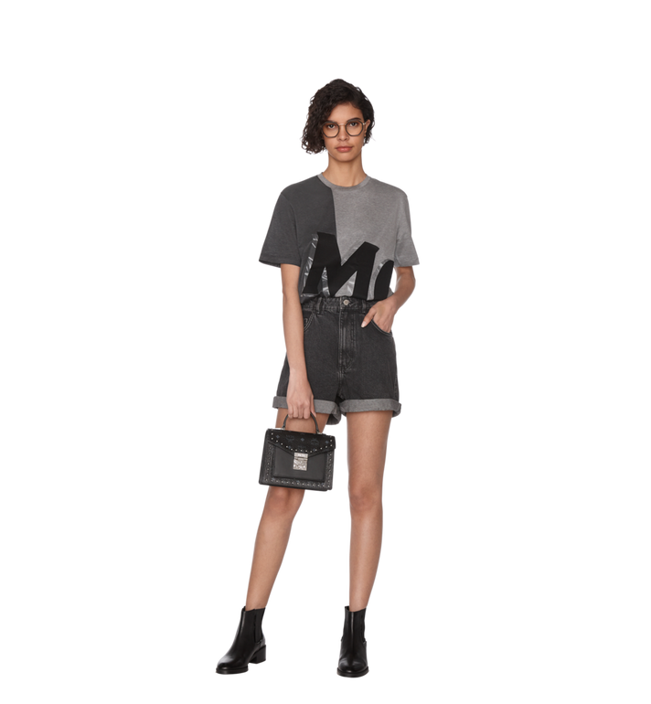 MCM Patricia Satchel in Studded Outline Visetos Black MWE9SPA44BK001 Alternate View 7