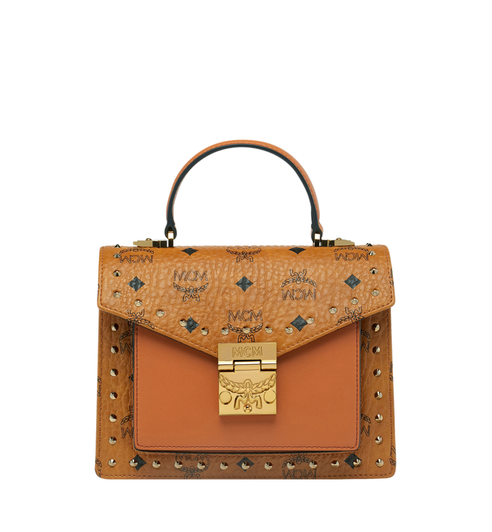 MCM Patricia Satchel in Studded Outline Visetos Alternate View