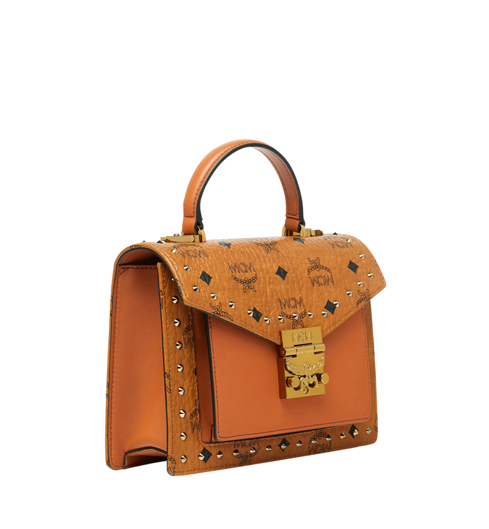 MCM Patricia Satchel in Studded Outline Visetos Cognac MWE9SPA44CO001 Alternate View 2