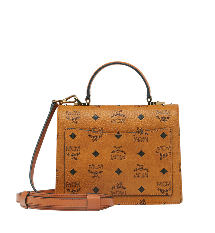 MCM Patricia Satchel in Studded Outline Visetos Cognac MWE9SPA44CO001 Alternate View 4