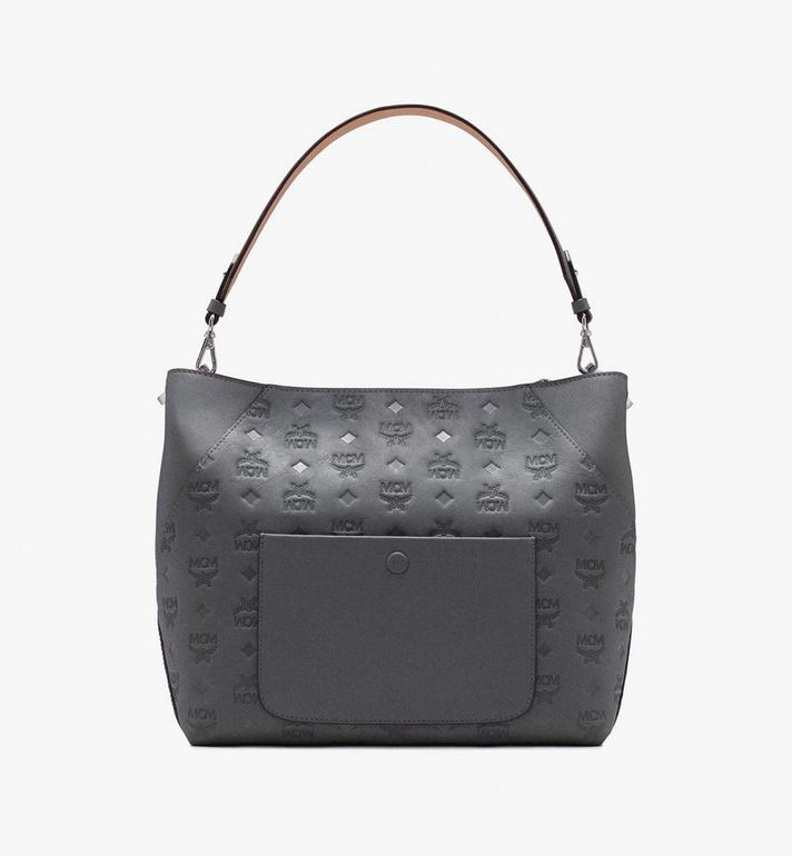 MCM Klara Hobo in Monogram Leather Grey MWH9AKM76EC001 Alternate View 3