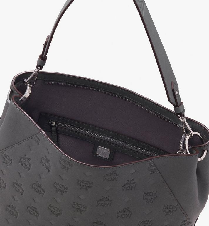 MCM Klara Hobo in Monogram Leather Grey MWH9AKM76EC001 Alternate View 4