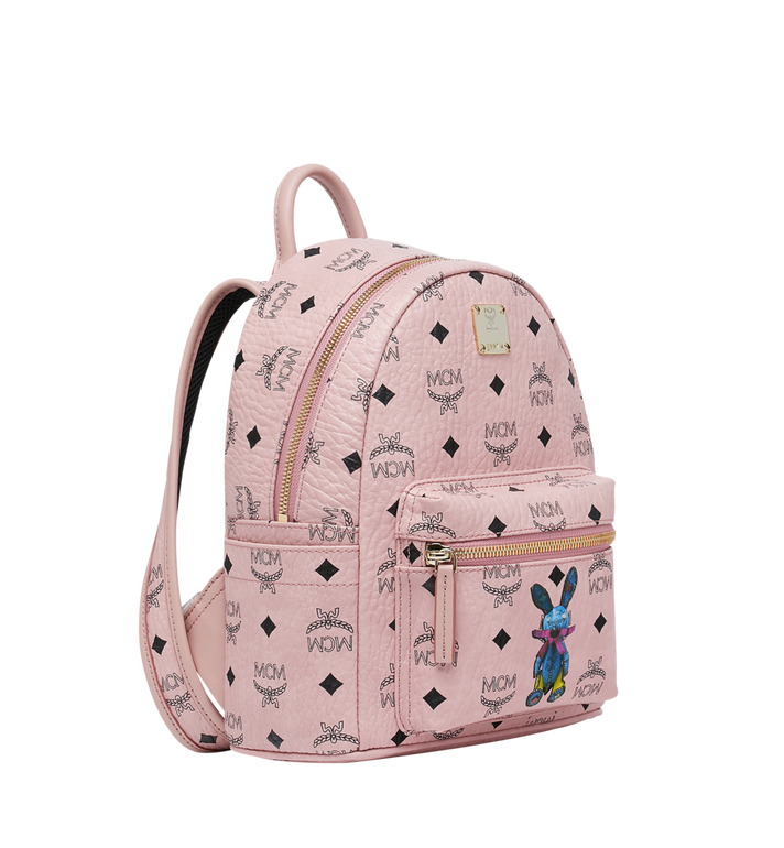 MCM Stark Classic Rabbit Backpack in Visetos Pink MWK7SXL07PZ001 Alternate View 2
