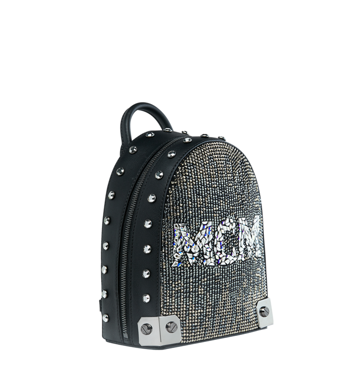 MCM Stark Bebe Boo Backpack in Mosaic Crystal Black MWK9SMS01BK001 Alternate View 2