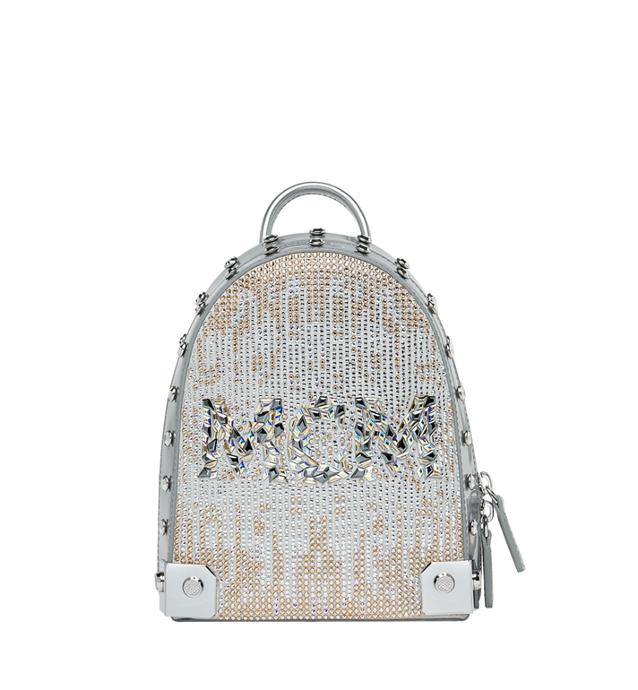 MCM Stark Bebe Boo Backpack in Mosaic Crystal Silver MWK9SMS01SB001 Alternate View 1