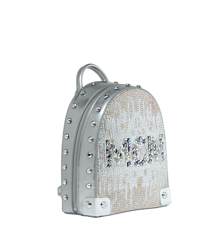 MCM Stark Bebe Boo Backpack in Mosaic Crystal Silver MWK9SMS01SB001 Alternate View 2