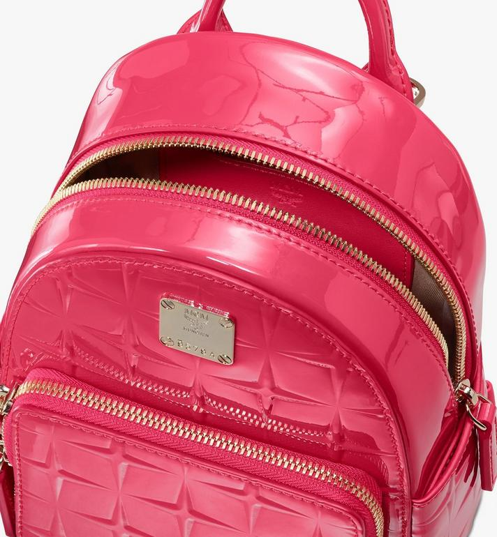 MCM Stark Bebe Boo Backpack in Diamond Patent Leather Pink MWKASVE03QE001 Alternate View 4