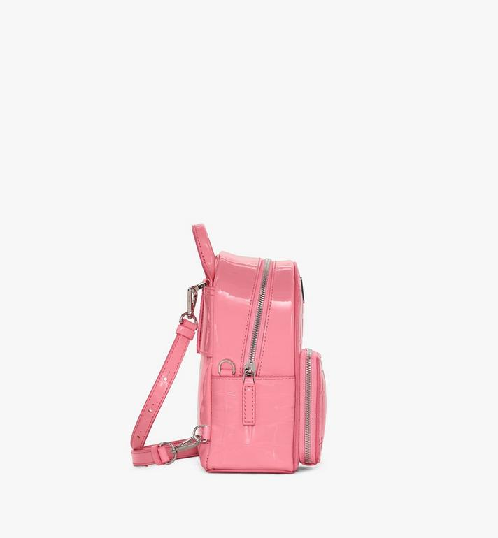 MCM Stark Bebe Boo Backpack in Diamond Patent Leather Pink MWKASVE03QG001 Alternate View 2