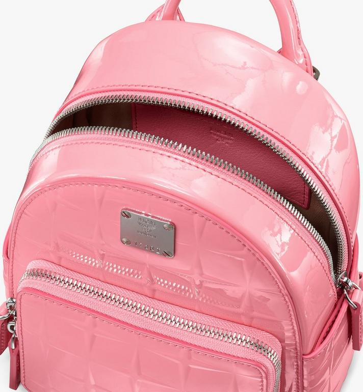MCM Stark Bebe Boo Backpack in Diamond Patent Leather Pink MWKASVE03QG001 Alternate View 4