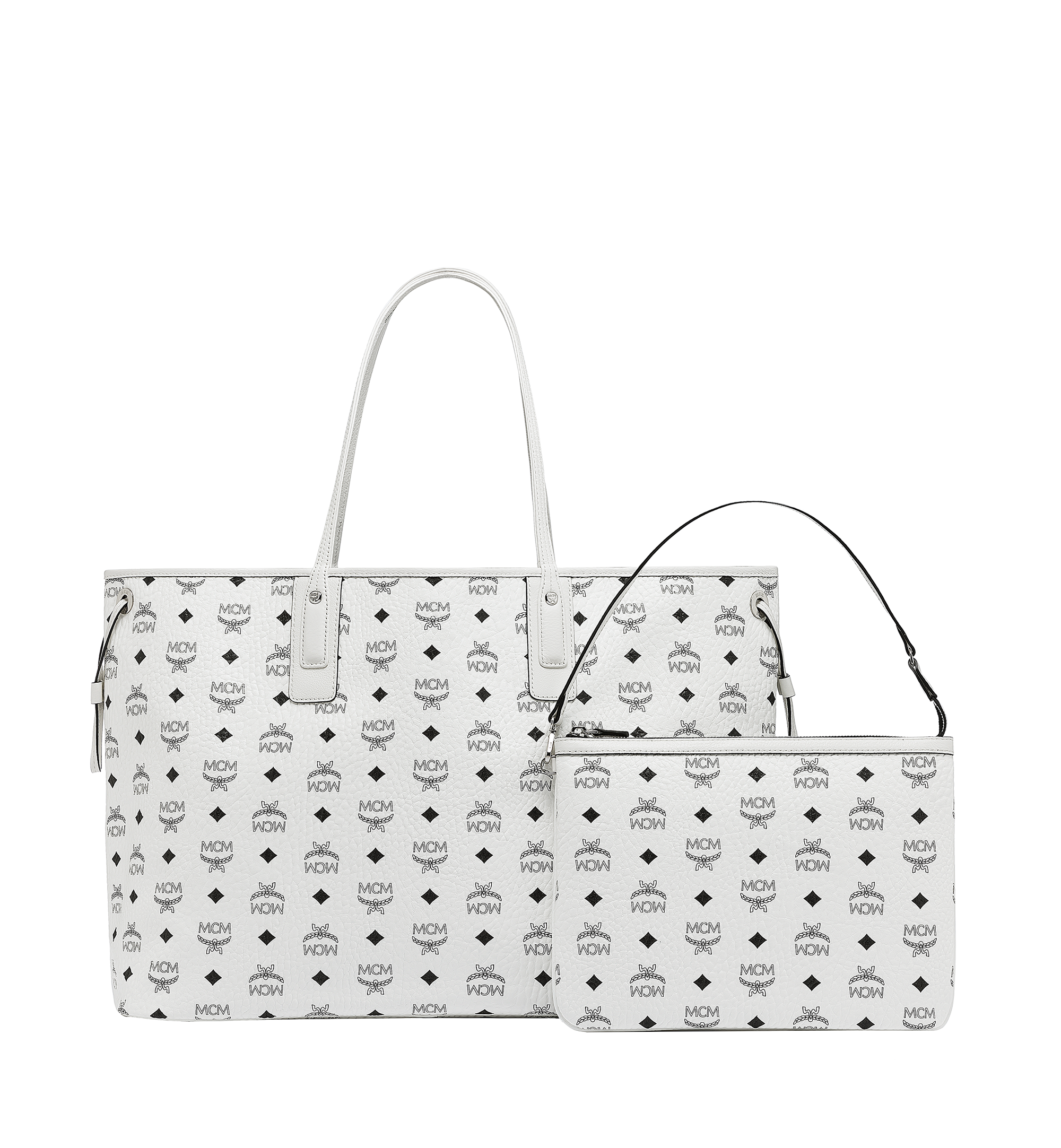 MCM Reversible Liz Shopper in Visetos White MWP7AVI21WT001 Alternate View 4