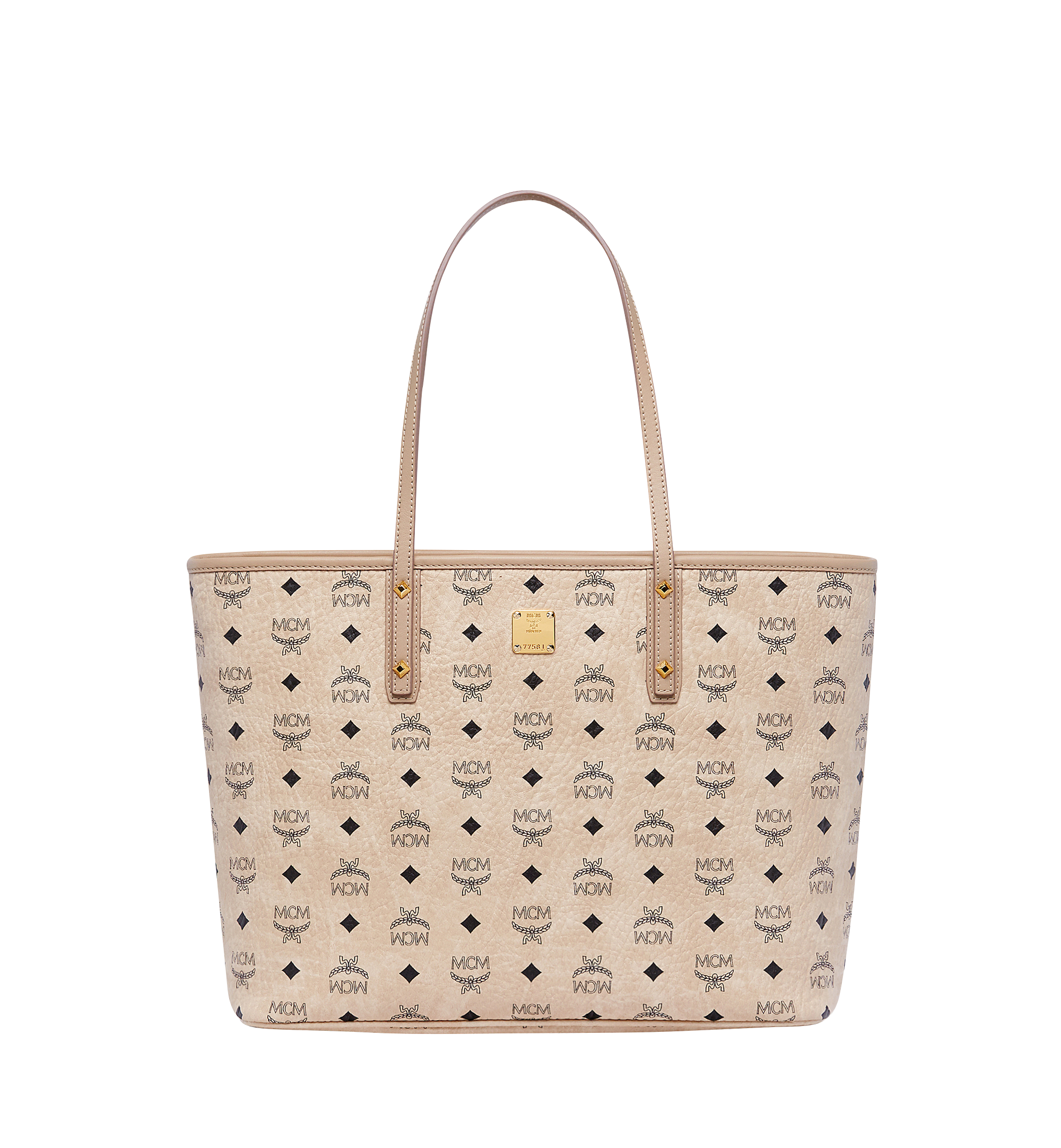 MCM Anya Top Zip Shopper in Visetos Beige MWP7AVI33IG001 Alternate View 1