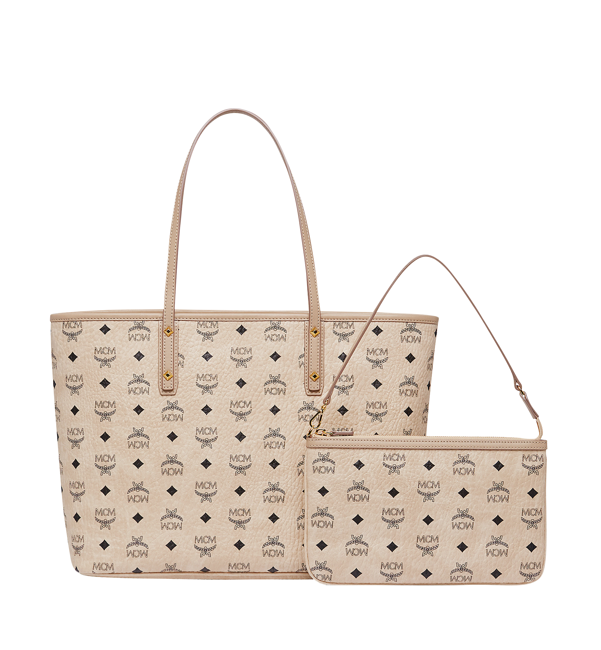 MCM Anya Top Zip Shopper in Visetos Beige MWP7AVI33IG001 Alternate View 4