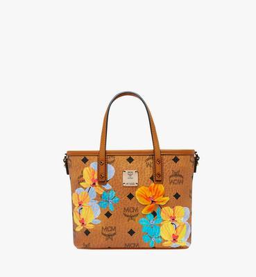 Essential Floral Print Visetos 顶部拉链购物袋