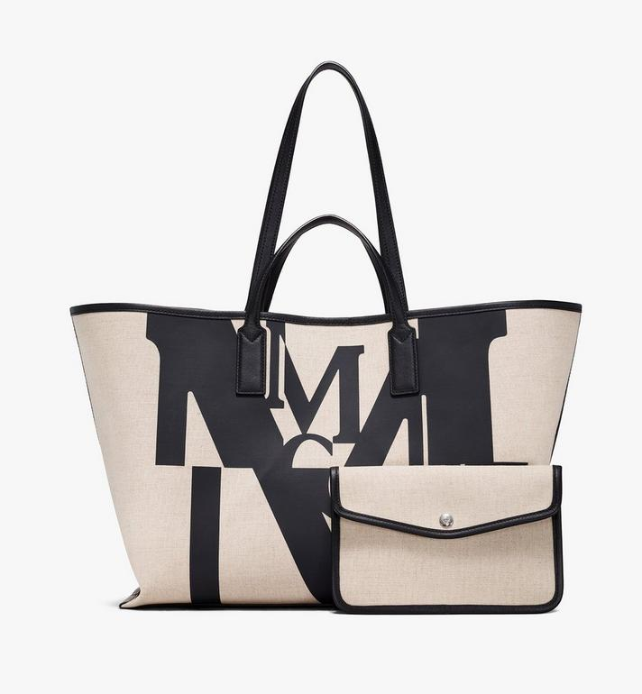 MCM Shopper in Logo Glitch Canvas  MWPAAMH01BK001 Alternate View 5