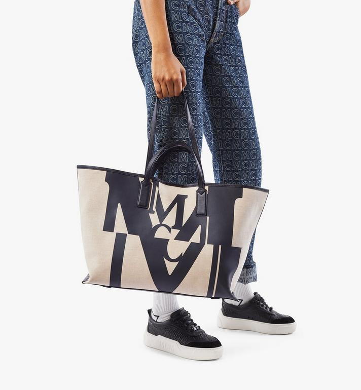 MCM Shopper in Logo Glitch Canvas  MWPAAMH01BK001 Alternate View 7