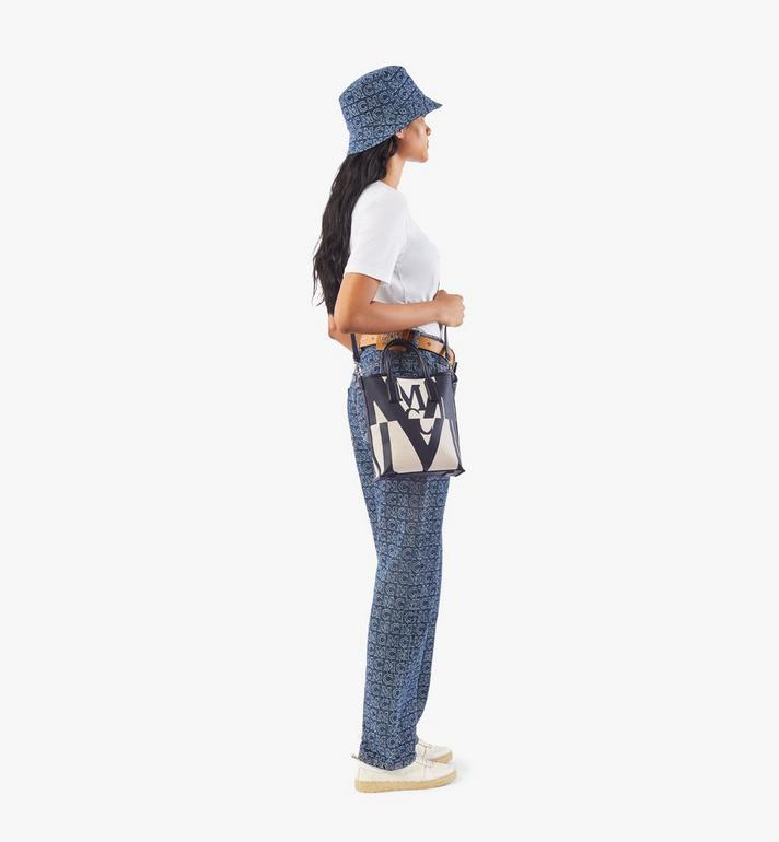 MCM กระเป๋าช็อปผ้าใบลายโลโก้แต่งเอฟเฟคกลิทช์ Black MWPAAMH02BK001 Alternate View 5