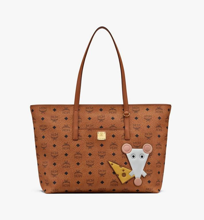 MCM Year Of The Mouse Anya Shopper in Visetos Cognac MWPASVI05CO001 Alternate View 1