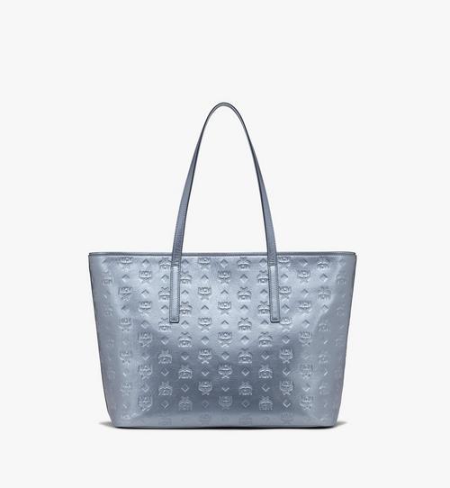 花押字圖案金屬皮革的Anya購物袋