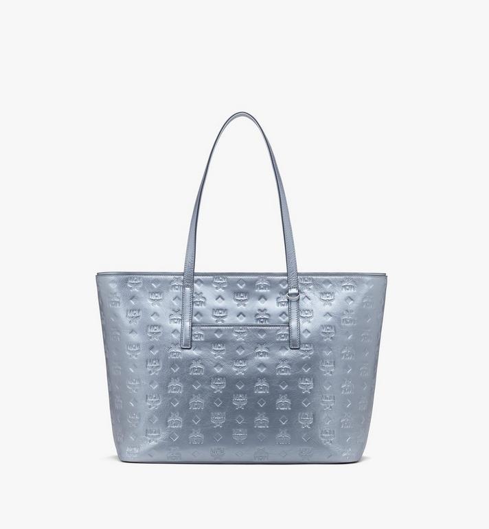 MCM 花押字圖案金屬皮革的Anya購物袋 Silver MWPASXS02SE001 Alternate View 3