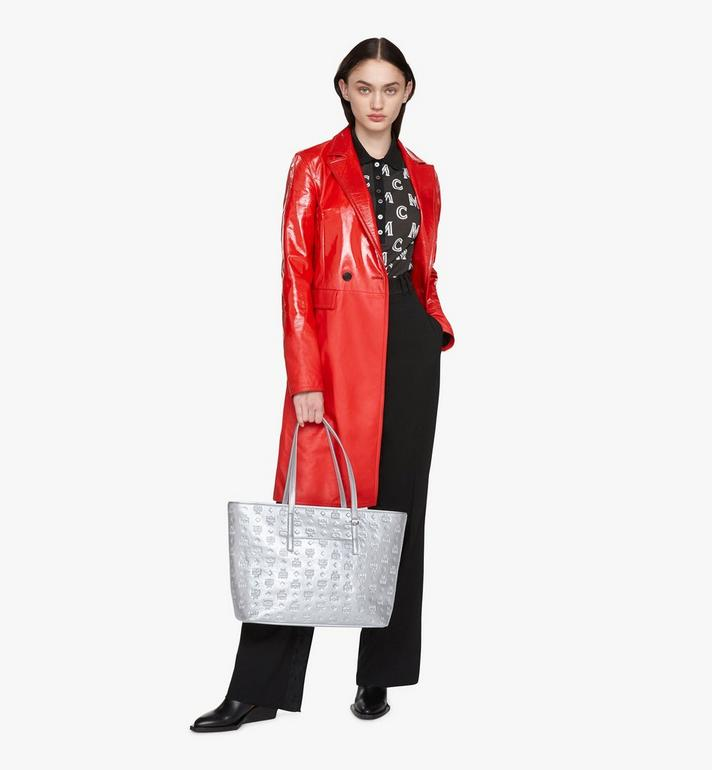MCM Anya Shopper aus Metallic-Leder mit Monogramm Silver MWPASXS02SE001 Alternate View 5