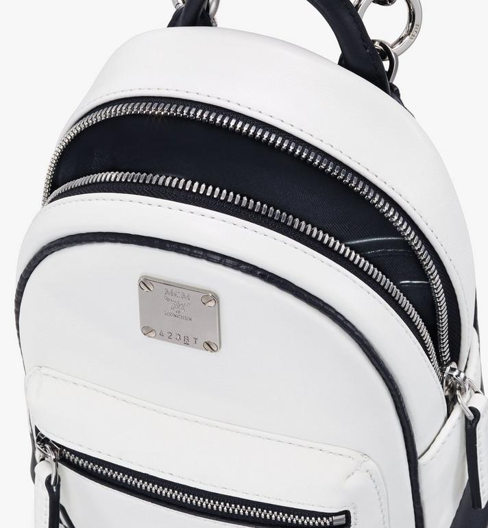 MCM Mini sac à dos et à bandoulière avec logo contrastant  MWR9ACL11WT001 Alternate View 4