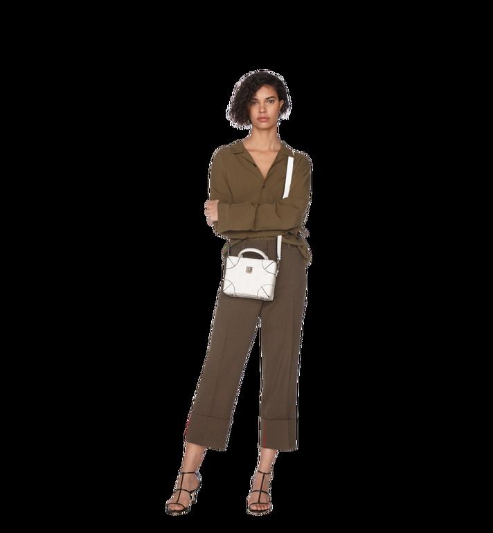 MCM Weiche Berlin Crossbody-Tasche aus Leder mit Monogramm White MWR9SBF25WT001 Alternate View 6