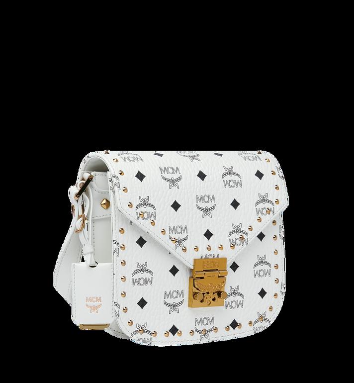 MCM Patricia Shoulder Bag in Studded Outline Visetos White MWR9SPA24WT001 Alternate View 2