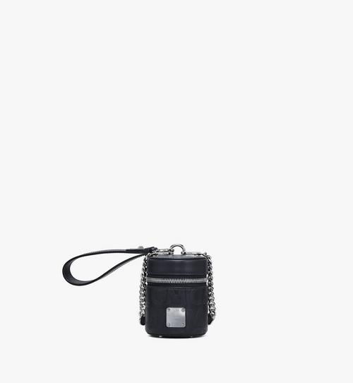 Zylinderförmige Crossbody-Tasche aus Leder mit MCM-Monogramm