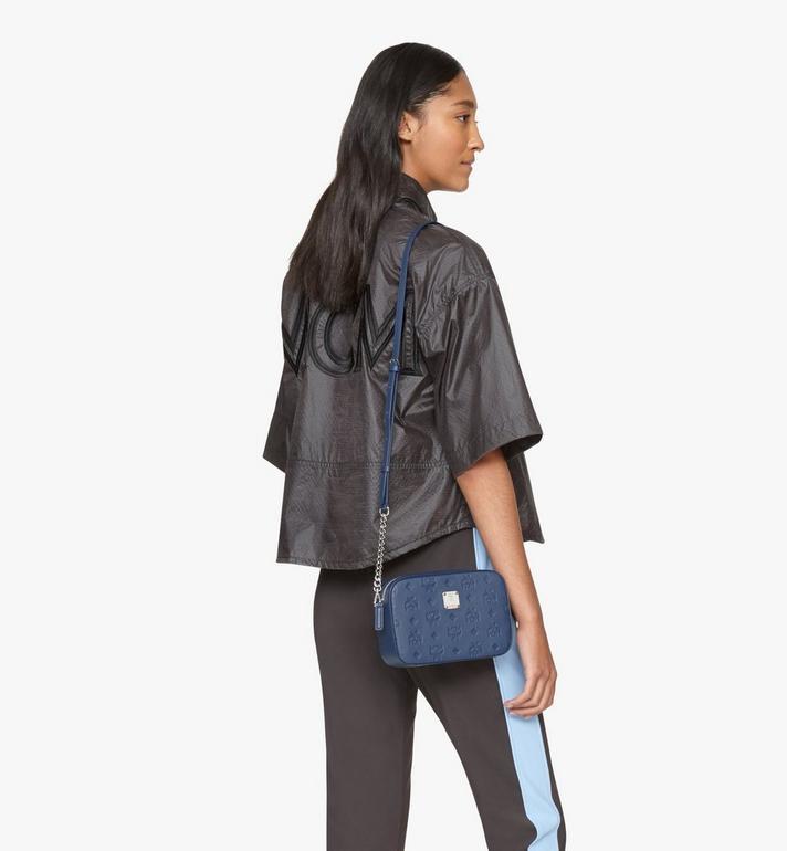 MCM Klara Crossbody-Tasche aus Leder mit Monogramm Blue MWRASKM01VA001 Alternate View 5