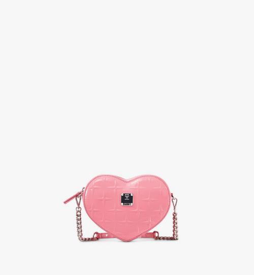 Herzförmige Patricia Crossbody-Tasche aus Lackleder mit Rautenmuster