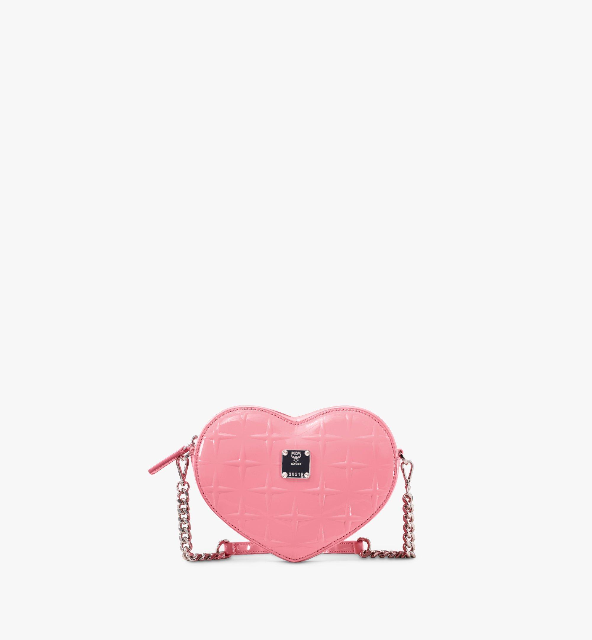 MCM Herzförmige Patricia Crossbody-Tasche aus Lackleder mit Rautenmuster Pink MWRASPA10QG001 Alternate View 1
