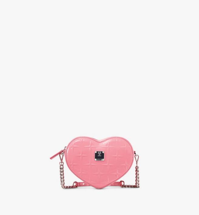 MCM Herzförmige Patricia Crossbody-Tasche aus Lackleder mit Rautenmuster Alternate View