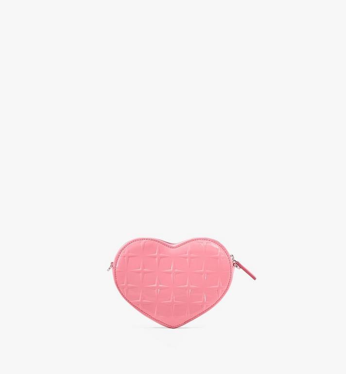 MCM Herzförmige Patricia Crossbody-Tasche aus Lackleder mit Rautenmuster Pink MWRASPA10QG001 Alternate View 3