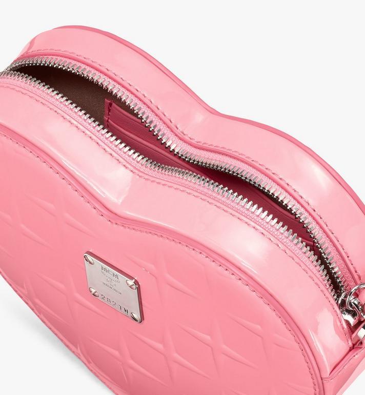 MCM Herzförmige Patricia Crossbody-Tasche aus Lackleder mit Rautenmuster Pink MWRASPA10QG001 Alternate View 4