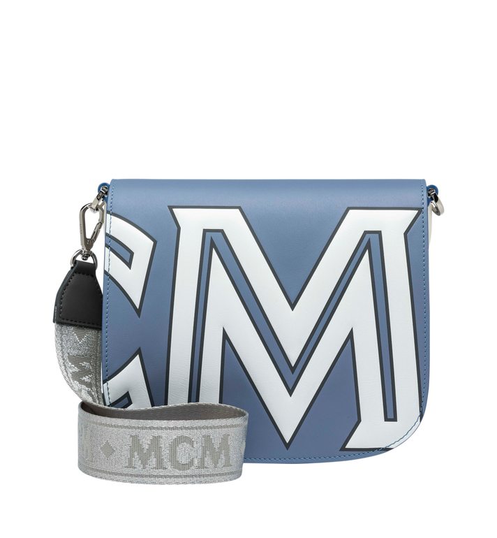 MCM Patricia Schultertasche aus Leder mit kontrastfarbenem Logo Grey MWS9SPA37HH001 Alternate View 4