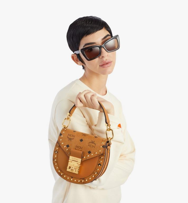 MCM Patricia Shoulder Bag in Studded Outline Visetos Cognac MWSAAPA04CO001 Alternate View 7