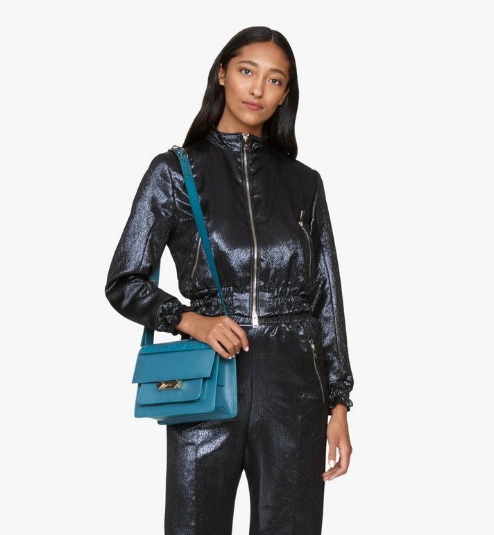 MCM Milano Shoulder Bag in Goatskin Leather Green MWSASDA01JF001 Alternate View 5