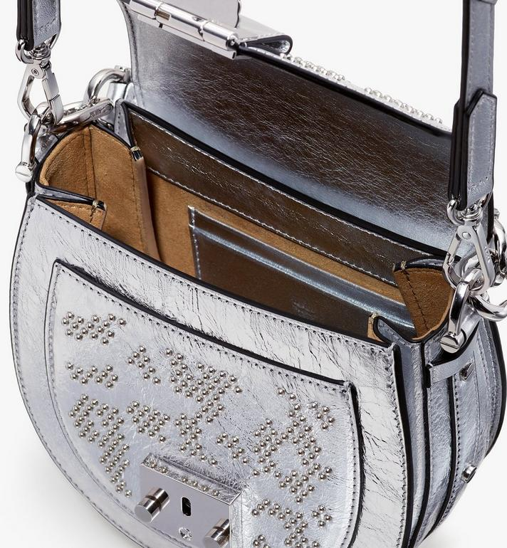 MCM Patricia Shoulder Bag in Studded Metallic Leopard Silver MWSASPA10SA001 Alternate View 4