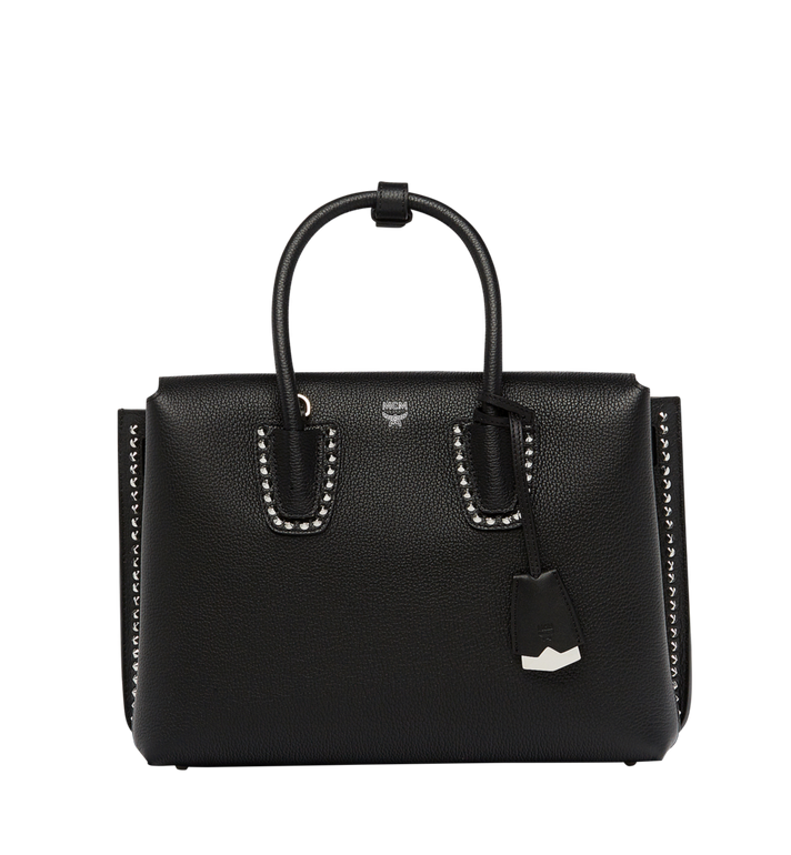 Milla Studded Outline Tote In Grained Leather in Black