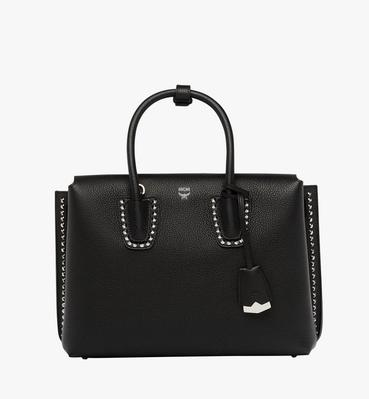 Milla Studded Outline Tote in Grained Leather