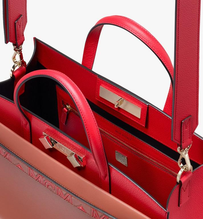 MCM Milano Tote Bag in Calfskin Leather Red MWT9ADA11RF001 Alternate View 4