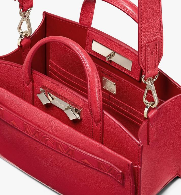 MCM Mini Milano Tote in Patent Leather Red MWT9ADA18RU001 Alternate View 4