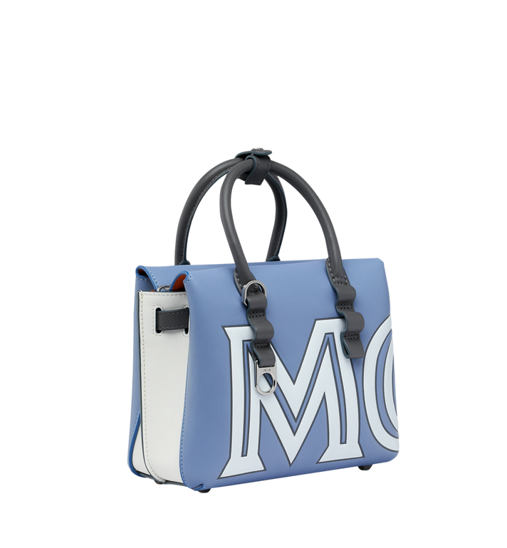 MCM Milla Tote in Contrast Logo Leather Grey MWT9SMA16HH001 Alternate View 2