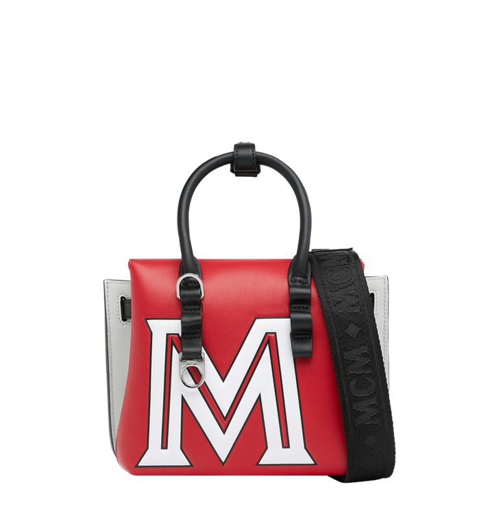 MCM Milla Tote in Contrast Logo Leather Red MWT9SMA16RU001 Alternate View 4